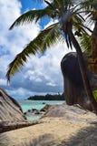 Anse来源D `银海滩在塞舌尔群岛,拉迪格岛海岛 库存照片