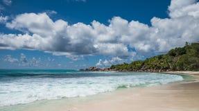 Anse椰树热带海滩,拉迪格岛海岛,塞舌尔群岛 免版税库存图片