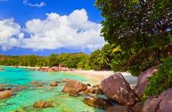anse海滩海岛拉齐奥praslin塞舌尔群岛 免版税库存图片
