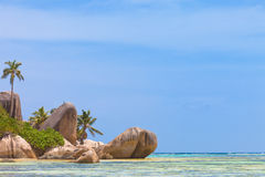 anse银d digue la塞舌尔群岛来源 免版税库存照片
