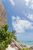 anse银d digue la塞舌尔群岛来源 库存图片