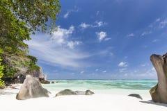 anse银d digue la塞舌尔群岛来源 免版税库存图片