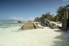 Anse źródła d'Argent plaża, losu angeles Digue wyspa, Seychelles Fotografia Stock