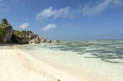 Anse źródła d'Argent plaża, losu angeles Digue wyspa, Seychelles Obrazy Royalty Free