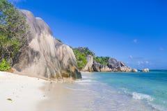 Anse źródła d ` Argent plaża, Seychelles Obraz Royalty Free