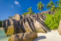 Anse źródła d ` Argent plaża, Seychelles Fotografia Royalty Free