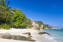 Anse źródła d ` Argent plaża, Seychelles Zdjęcia Royalty Free