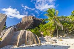 Anse źródła d ` Argent plaża, Seychelles Zdjęcia Stock