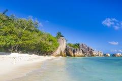 Anse źródła d ` Argent plaża, Seychelles Obrazy Stock