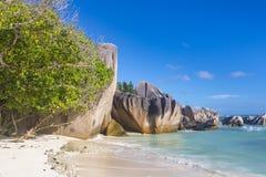 Anse źródła d ` Argent plaża, Seychelles Obraz Stock