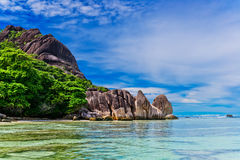 Anse źródło d'argent, losu angeles Digue wyspa Seychelles Obraz Royalty Free