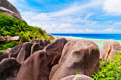 Anse źródło d'argent, losu angeles Digue wyspa Seychelles zdjęcie royalty free