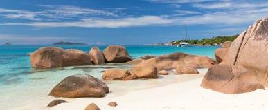 Anse Λάτσιο, τέλεια τροπική παραλία εικόνων στο νησί Praslin, Σεϋχέλλες Στοκ Φωτογραφία