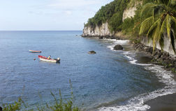 Anse贝而维尔风景在马提尼克岛 免版税库存照片