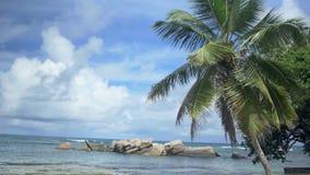 Anse Beau Vallon tropical beach, Mahe island, Seychelles stock footage