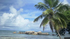 Anse Beau Vallon tropical beach, Mahe island, Seychelles. View over the amazing Beau Vallon bay on Mahe island, Seychelles stock footage