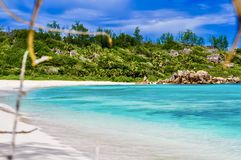 Anse Cocos - La Digue - Seychellerna royaltyfri foto