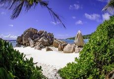 Anse Cocos setzen, Seychellen 2 auf den Strand Stockfotos