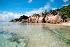 Пляж источника Anse d'Argent, остров Digue Ла, Сейшельские островы Стоковое фото RF
