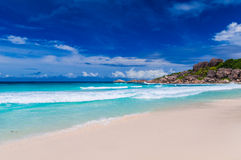 Грандиозное Anse, остров Digue Ла Сейшельские островы Стоковые Фотографии RF