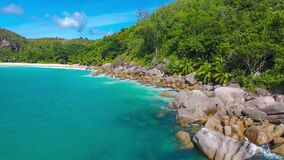 Anse Georgette beach, Seychelles. A beautiful and almost wild Anse Georgette beach on Praslin island, Seychelles stock video