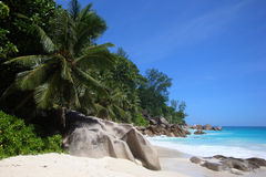Anse Georgette. Beautiful beach of Anse Georgette, Praslin, Seychelles Stock Photo