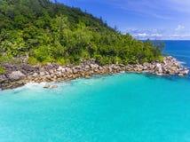 Anse Georgette na Praslin wyspie, Seychelles Fotografia Royalty Free