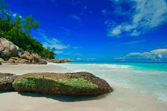 Anse Georgette Praslin Seychellen Photo stock
