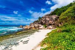Anse grand, île de Digue de La Les Seychelles Photo libre de droits