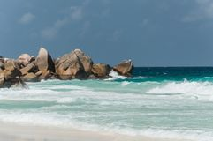 Anse grande, La Digue, Seychelles Fotografia de Stock Royalty Free