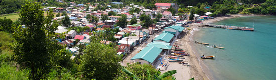 Anse La Raye St. Lucia. Panoramic photo of Anse La Raye bay, a fishing village in St. Lucia Royalty Free Stock Images