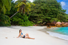Anse Lanzio beach. At Seychelles Stock Photo