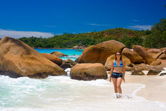 Anse Lanzio beachs Royalty Free Stock Image