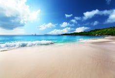 Anse Lazio beach at Praslin island Stock Photos