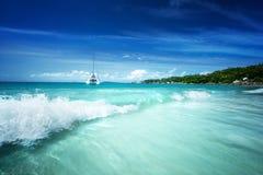 Anse Lazio beach at Praslin island Stock Photo