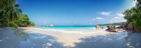 Anse lazio beach praslin island seychelles. Panoramic view of anse lazio beach praslin island seychelles Stock Photography