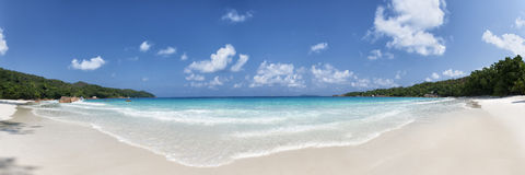 Anse lazio beach praslin island seychelles. Panoramic view of anse lazio beach praslin island seychelles royalty free stock images