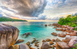 Anse Lazio. Beautiful sunset over the famous beach Anse Lazio, Praslin island, Seychelles Royalty Free Stock Images