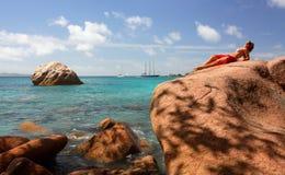 Anse Lazio, isola di Praslin. fotografia stock