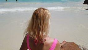 Anse Lazio morze i brzeg zbiory wideo
