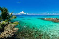 Anse Lazio Praslin Seychellen Arkivbilder