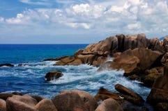 Anse Marron, τροπική παραλία στις Σεϋχέλλες Στοκ Φωτογραφίες
