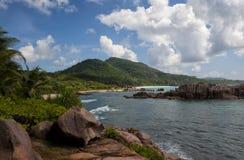 Anse Marron, plage tropicale chez les Seychelles Photographie stock libre de droits