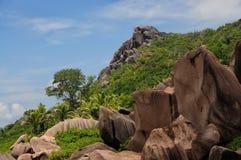 Anse Marron, plage tropicale chez les Seychelles Images libres de droits