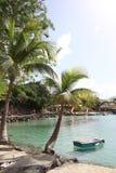 Anse Mitan,马提尼克岛- 12/14/17 :漂浮在一个美丽的热带海滩的岸附近的小船在Anse Mitan,马提尼克岛 免版税库存照片