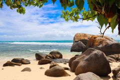Anse Nord D`Est beach. North point of Mahe island. Seychelles Stock Photography