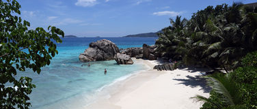 Anse Patates , La Digue island , Seychelles Royalty Free Stock Photo