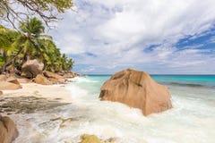 Anse Patates, picture perfect beach on La Digue Island, Seychelles. Stock Photo