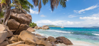 Anse Patates, picture perfect beach on La Digue Island, Seychelles. Royalty Free Stock Images