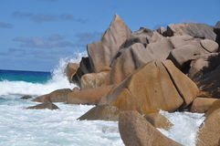 Anse Petite. Typical Rock Formation at Anse Petite, La Digue, seychelles Royalty Free Stock Photo
